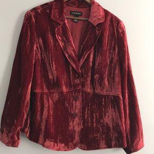 Lane Bryant Deep Red Crushed Velvet Blazer size 22